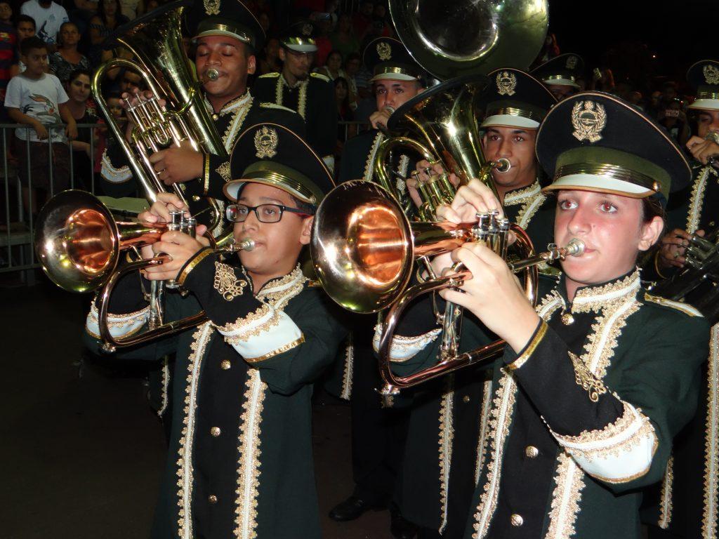 Músicos da Banda marcial de Bocaina durante apresentação, Banda é a atual campeão do Grupo C (foto: Antônio Carlos)